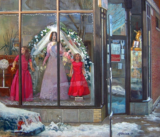 a neighborhood bridal shop on slushy mid-winter day in Chicago, viewed at dawn with multiple reflections, golden cherub and magenta dresses by Mary Phelan