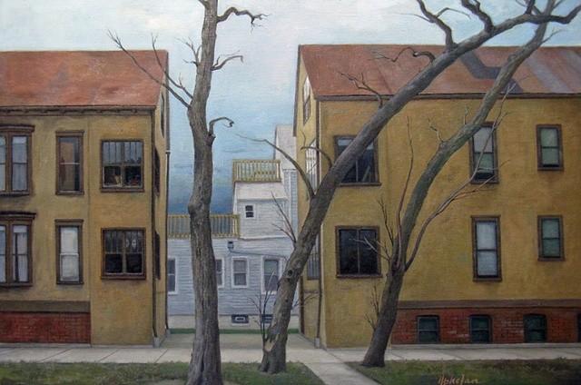 old houses with three locust trees by Mary Phelan