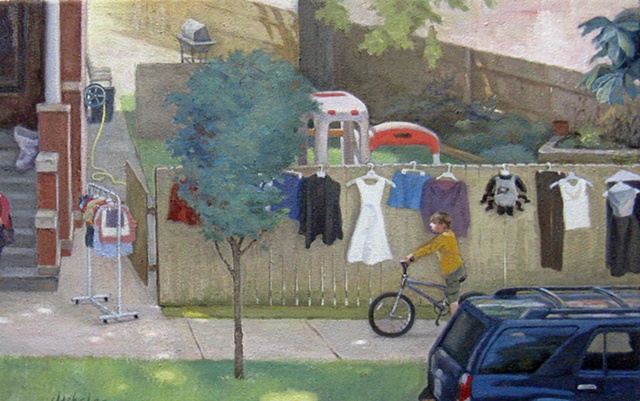 summer yard sale with some items displayed on wooden fence, and boy on bicycle in foreground by Mary Phelan