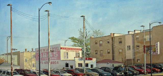 Hispanic owned used car lot on Western Ave. in Chicago by Mary Phelan