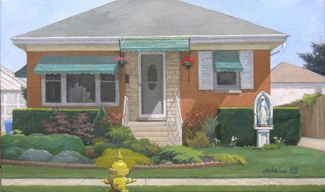Middle-class Chicago bungalow with Virgin Mary shrine.