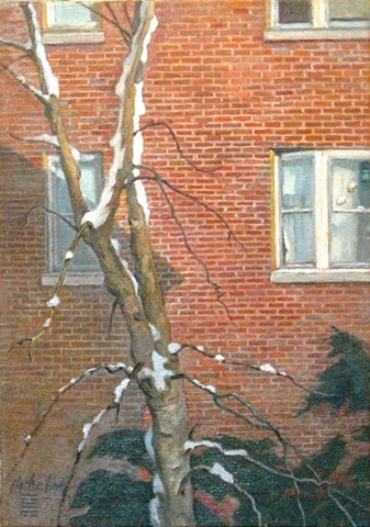 setting sun on brick wall of apartment building with snow clinging to tree by Mary H. Phelan
