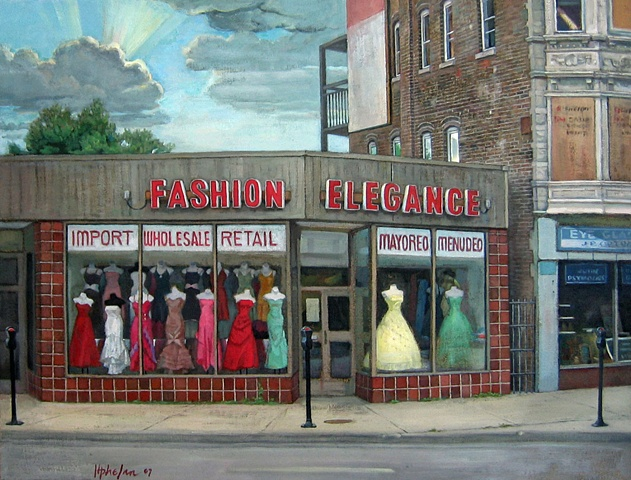 a fancy neighborhood dress shop in humble surroundings, Chicago, by Mary Phelan