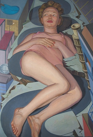 painting of giant figure in San Fransisco cityscape (Lombard St. in San Fransisco) by Margaret McCann