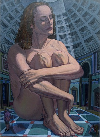 painting of giant figure in Rome's Pantheon by Margaret McCann