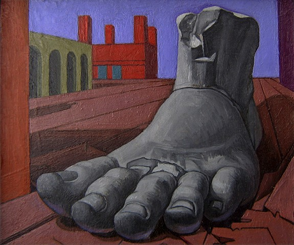 painting of giant  (Constantine's foot, Rome) in Di Chirico cityscape by Margaret McCann