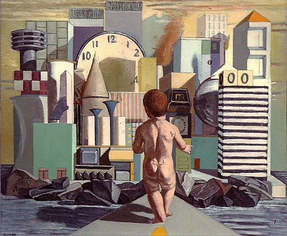 painting of giant figure (putto) in cityscape by Margaret McCann
