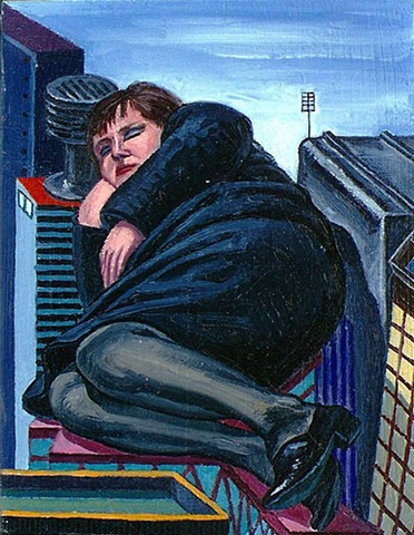painting of giant figure in cityscape by Margaret McCann