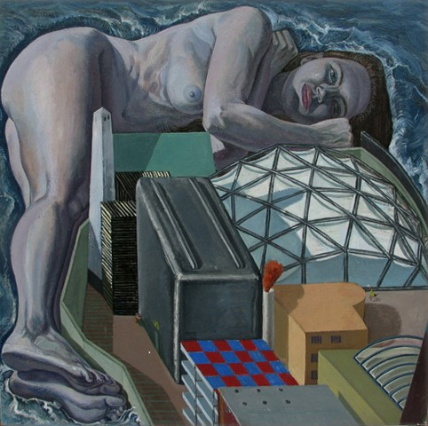 painting of giant figure as jetty in cityscape by Margaret McCann