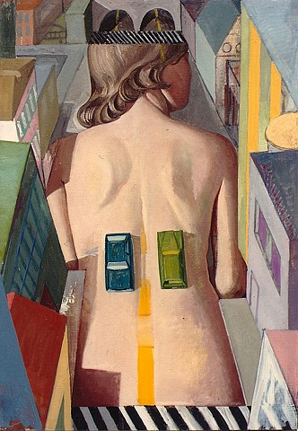 painting of giant figure in cityscape (inspired by Man Ray) by Margaret McCann