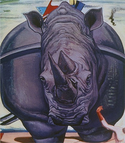 painting of giant rinoceros as Max Ernst (L'elefante celebes)  by Margaret McCann