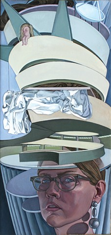 self-portrait painting as 'the Guggenheim Museum meets the Statue of Liberty' by Margaret McCann