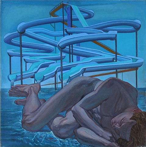 painting of giant figure in water park by Margaret McCann