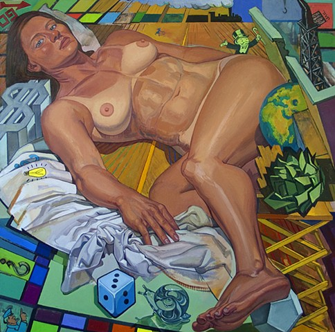 painting of giant figure on Atlantic City boardwalk - turned - Monopoly board by Margaret McCann