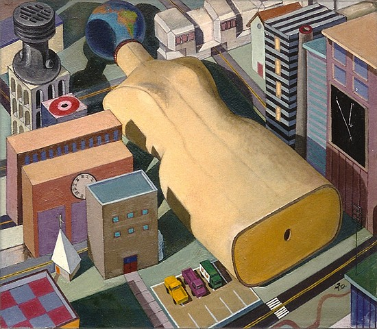 painting of giant figure (mannikan) in cityscape by Margaret McCann