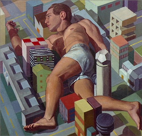 painting of giant figure - turned - still life / cityscape by Margaret McCann