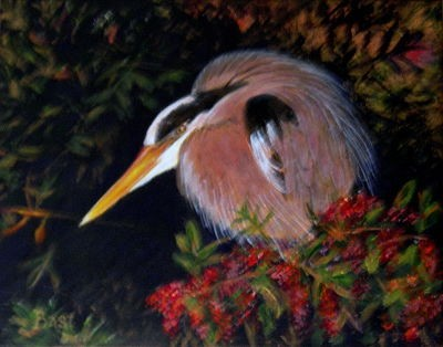 Exotic bird, great blue heron, Rousseau