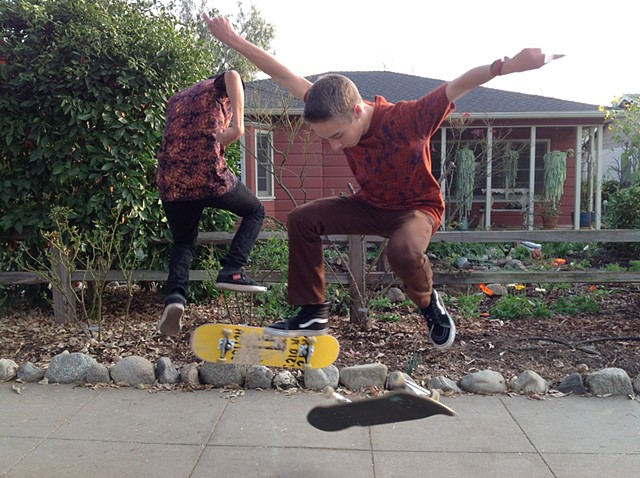 Danny and Seth Skateboarding in Cotton T-Shirts