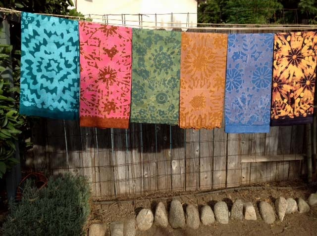 Linen Tea Towels Batiked in a Variety of Colors