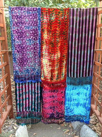 Tie-Dye Over Varying Patterns of Silk Cut Velvet Scarves