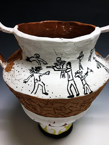 Introduction to Ceramics: Historical/Contemporary Vessel: Zombie Apocalypse (detail)