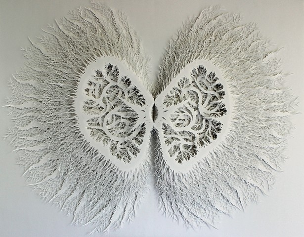 Hand cut layered paper relief sculpture, paper art
