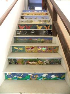 Original artists painted gallery staircase