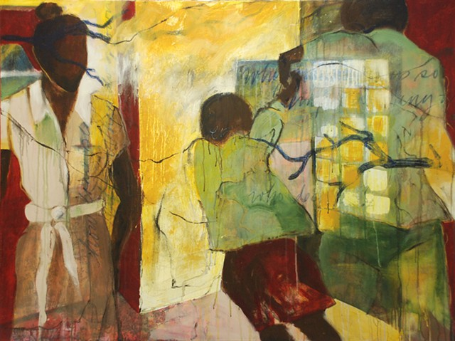figurative, painting, acrylic, fabric, architecture, light, people, window