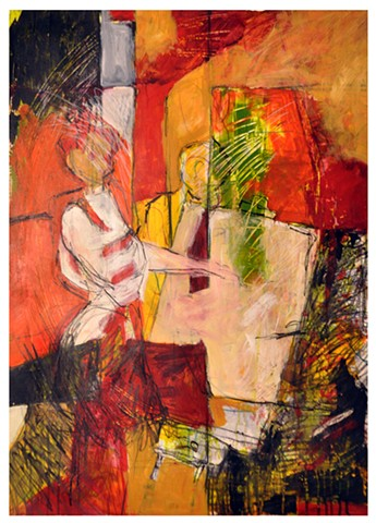 abstract painting, shape, figurative, warm palette, value, line, colorist, artist, studio, graphite, acrylic