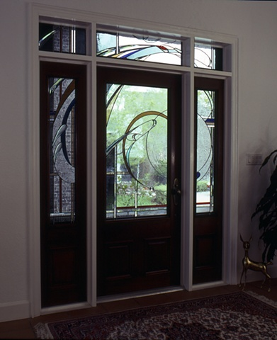 Leaded glass entryway by Cliff Maier at Narrow Bridge Studio.