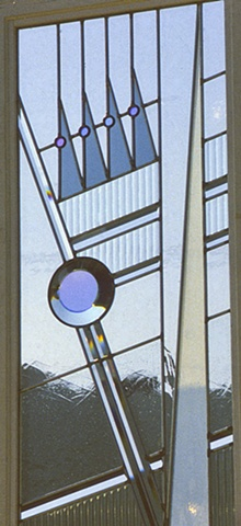 Leaded glass for bathroom window by Cliff Maier