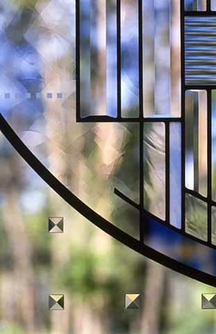 Stained glass front door detail.