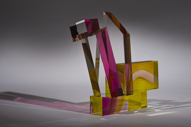 Art Glass mouth blown cut ground, laminated , polished by Cliff Maier.