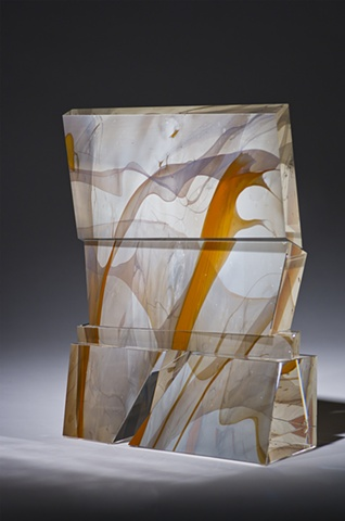 Contemporary glass sculpture, optic and lead crystal, cut, ground, polished.