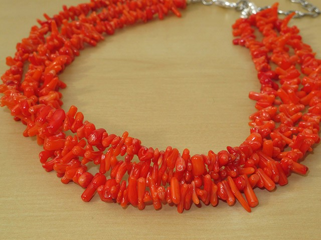 Salmon Coral Necklace-3 Strands