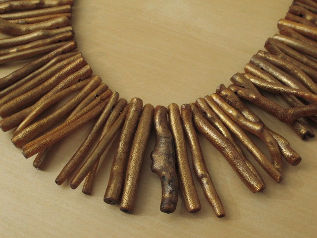 Gold Painted Coral Stick Necklace