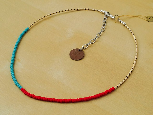 Turquoise & Red Glass Seed Beads with Bamboo Beads