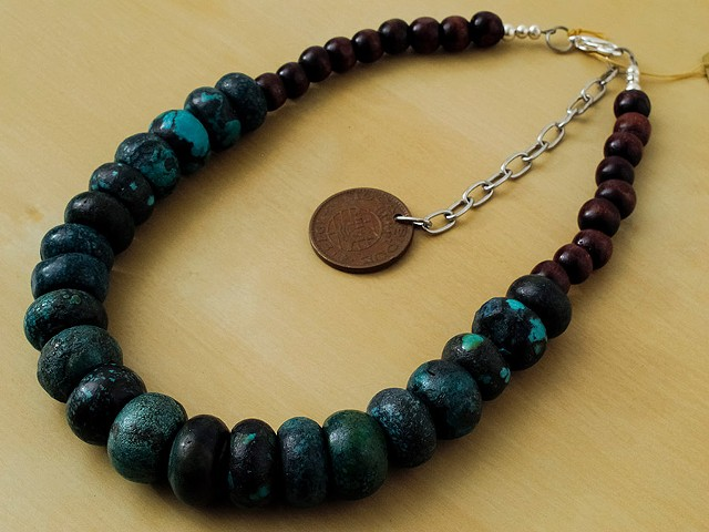 Graduated Turquoise with Wood Beads