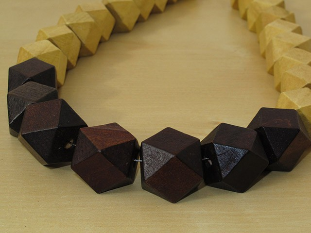 Brown & Yellow Faceted Wood Necklace