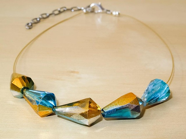 Blue, Orange & Gold Glass Faceted Necklace