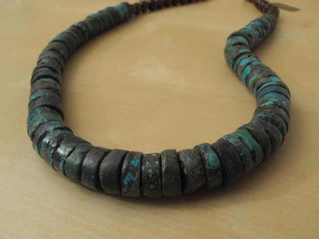 Turquoise Necklace with Wood Beads