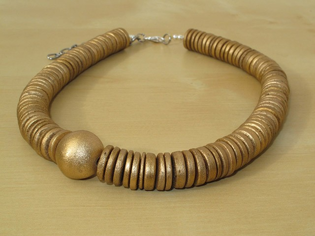 Gold Painted Round Disc & Gold Round Wood Bead Necklace