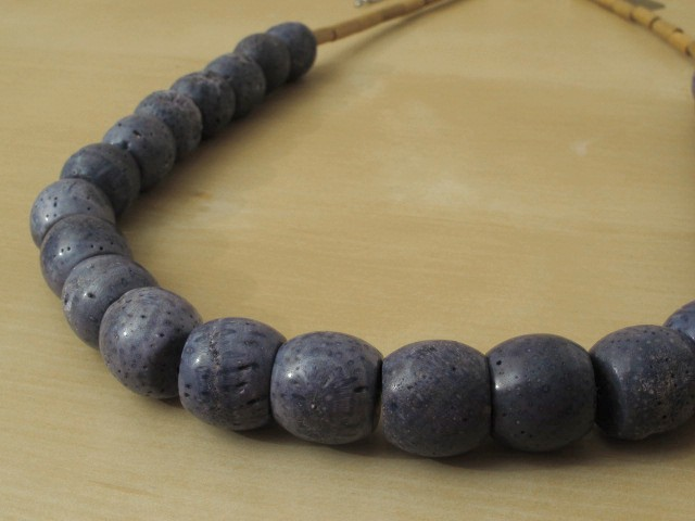Blue Coral Necklace with Wood Beads