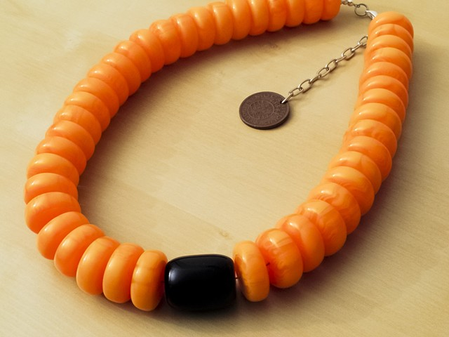 Yellow Amber Resin Beads with Black Bead