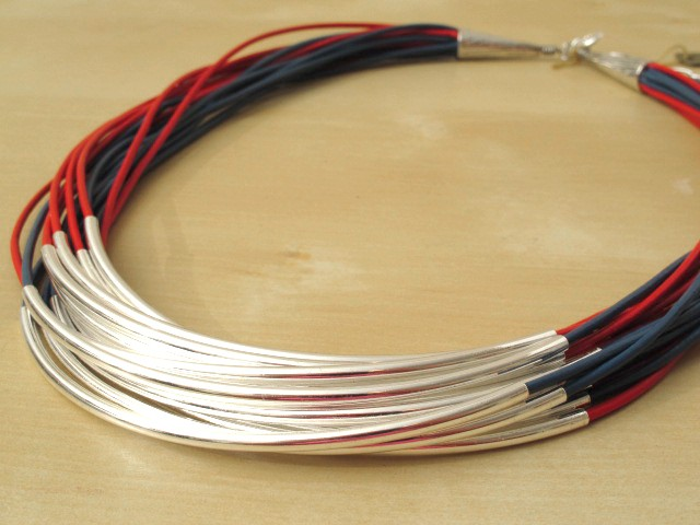 Red & Blue Leather Cord Necklace with Silver-Plated Tubes - 16 Strands