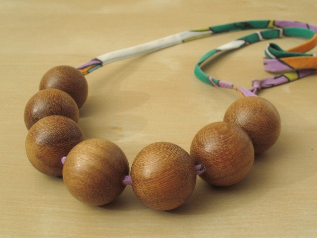 Madre de Cacao Wood Beads on Vintage Cord Necklace
