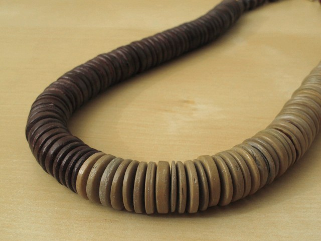 Dark Brown & Beige Wood Disc Necklace