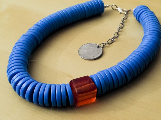 Blue Resin Beads with Amber Resin Bead