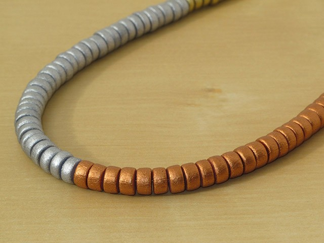 Silver, Gold & Bronze Wood Necklace