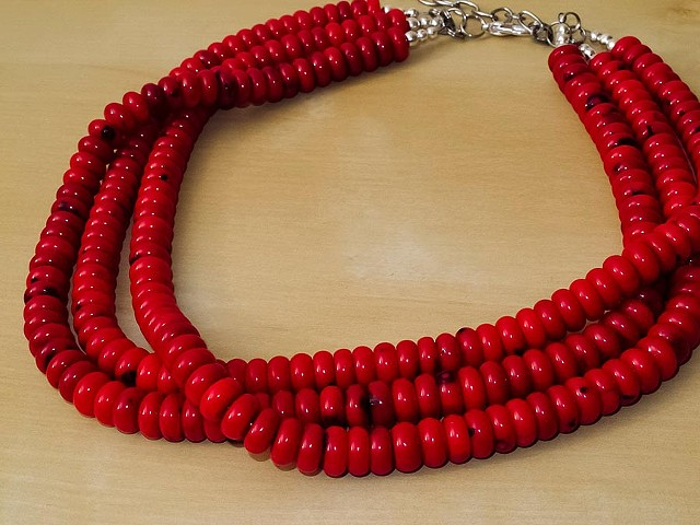 Red Bamboo Coral Necklace - 3 Strands